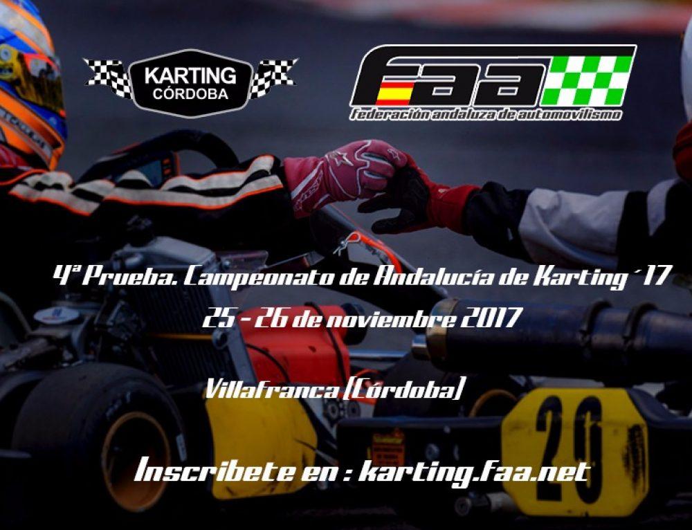 Campeonato de Andalucía de Karting – Villafranca 25 y 26 de Noviembre (CONSULTA LOS HORARIOS MODIFICADOS) (LISTA PROVISIONAL DE INSCRITOS EN EL INTERIOR)