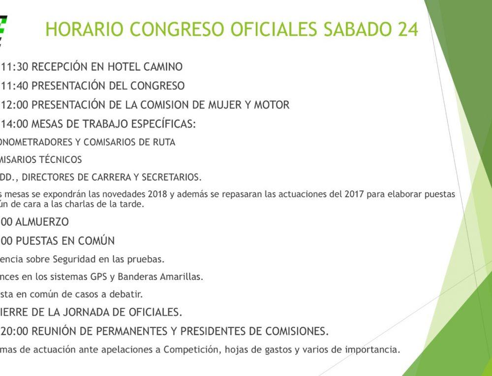 Horarios – Congreso de Oficiales (Hotel Camino de Granada)